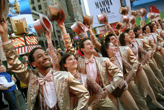 "Slide 1 of 10: Cast of ""A Chorus Line"" celebrates Broadway shows reopening after stagehands' strike ends, at Times Square on November 29, 2007 in New York City"