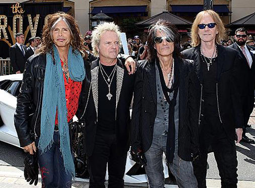 Slide 1 of 16: LOS ANGELES, CA - MARCH 28: (L-R) Steven Tyler, Joey Kramer, Joe Perry and Tom Hamilton of Aerosmith announce their 'The Global Warming' Tour at The Grove on March 28, 2012 in Los Angeles, California. (Photo by Mark Davis/WireImage)