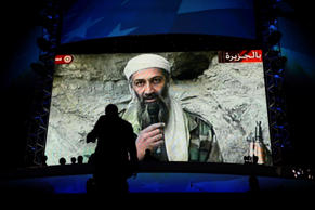The image of deceased Taliban leader Osama bin Laden appears on screen at the Democratic National Convention in September 2012.