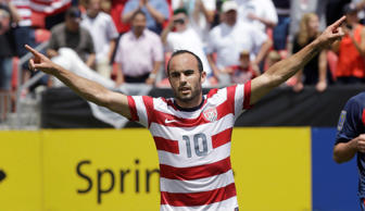 United States' Landon Donovan gestures after scoring on a penalty kick during the first half of a CONCACAF Gold Cup soccer game against Cuba on Saturday, July 13, 2013, in Sandy, Utah. (AP Photo/Rick Bowmer)