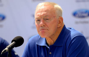 Dallas Cowboys owner Jerry Jones talks at a news conference during Dallas Cowboy...