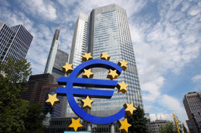 The Euro logo is pictured in front of the European Central Bank, ECB in Frankfurt, Germany.