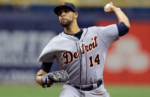 Detroit Tigers starting pitcher David Price delivers to the Tampa Bay Rays during the first inning of a baseball game Thursday, Aug. 21, 2014, in St. Petersburg, Fla.