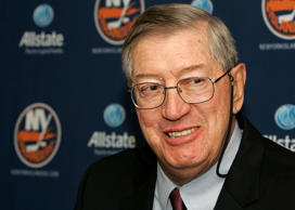 Former Islanders coach Al Arbour speaks to the media after his 1500th game as an Islander Nov. 3, 2007 in Uniondale, NY.