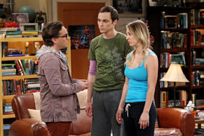 LOS ANGELES - DECEMBER 17: 'The Occupation Recalibration' -- Sheldon (Jim Parsons, center) tries to relax after he is forced to take a vacation.  Meanwhile, Leonard (Johnny Galecki, left) struggles to be supportive of Penny (Kaley Cuoco, right) after she quits her job, on THE BIG BANG THEORY, Thursday, Jan. 9 (8:00 - 8:31 PM, ET/PT) on the CBS Television Network. (Photo by Monty Brinton/CBS via Getty Images)