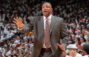 Head Coach Doc Rivers of the Los Angeles Clippers coaches against the Golden State Warriors on December 25, 2013 at Oracle Arena in Oakland, California.
