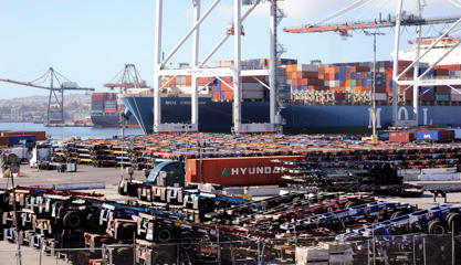 Thousands of cargo carriers sit idle as a ship is unloaded at the Port of Los Angeles October 27, 2014. A shortage of transportation equipment, drivers and possible labor disruptions at the Los Angeles and Long Beach port complexes, the nation's busiest, is delaying shipping containers for up to three weeks, threatening timely delivery to retailers for the holiday season.