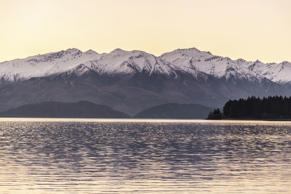 Sun setting over the mountains in Lake Wanaka.