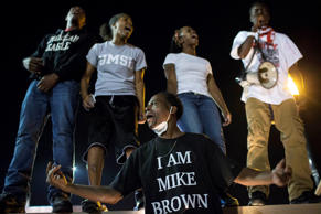 File photo of protesters gathered near the police department in Ferguson, Mo.