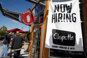 Customers walk into a Chipotle restaurant, Tuesday, Sept. 21, 2010, in Mountain View, Calif. More than half of U.S. states saw their unemployment rates rise in August, the largest number in six months, as hiring weakened across the country. Some state are posting job gains in areas such as finance and hotels and restaurants.  (AP Photo/Paul Sakuma)
