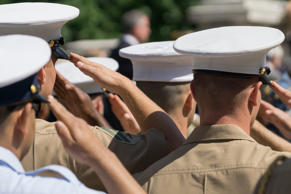 Soldier officers salute during a service on Memorial Day in the Manhattan borough of New York, New York, USA.