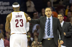 Cleveland Cavaliers head coach David Blatt greets LeBron James during an exhibition game against the Maccabi Tel Aviv on Oct. 5, 2014, at Quicken Loans Arena in Cleveland.