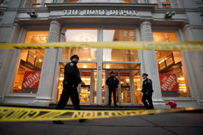 Police at the scene of a shooting in a Home Depot store in New York City, January 25, 2015.