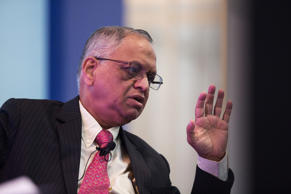 File: N.R. Narayana Murthy, co-founder and chairman of Infosys Ltd., gestures as he speaks during the Hong Kong Asian Financial Forum (AFF) in Hong Kong, China, on Monday, Jan. 19, 2015.