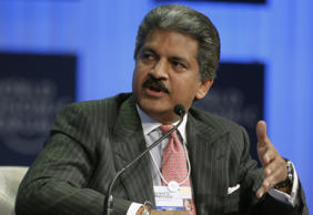 File: Anand Mahindra speaks during a session at the World Economic Forum in Davos, Switzerland