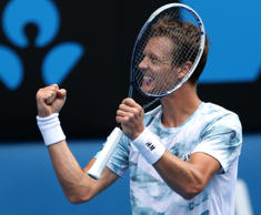 Tomas Berdych of the Czech Republic celebrates after defeating Rafael Nadal of Spain in their quarterfinal match at the Australian Open tennis championship in Melbourne, Australia, Tuesday, Jan. 27, 2015.