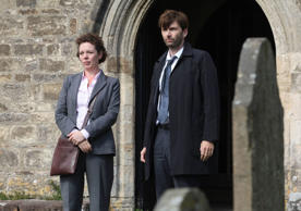 "David Tennant as Alec Hardy, right, and Olivia Coleman as Ellie Miller, from the series ""Broadchurch."""