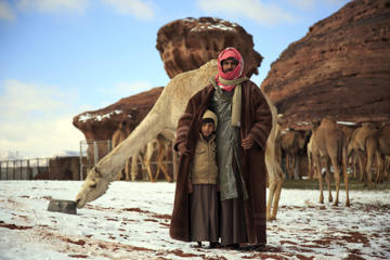 A Saudi man and his son pose for a photograph in front of camels in the Aleghan Heights, located some 1500 km northwest of the Saudi capital Riyadh in the Tabuk region, on January 10, 2015, after a heavy snow storm hit parts of the Middle East.