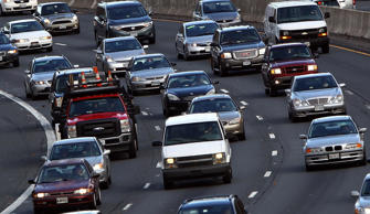 Traffic on highway I-495 South in McLean, Virginia.
