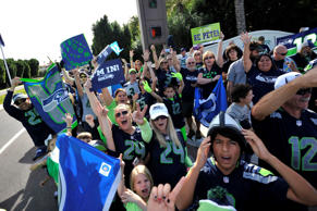 Fans await the Seattle Seahawks before press conference at the Arizona Grand Hotel in preparation for Super Bowl XLIX at Arizona Grand Hotel.