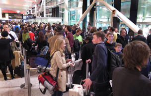 Passengers at the Heathrow airport