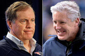 New England Patriots head coach Bill Belichick, left, and Seattle Seahawks head coach Pete Carroll