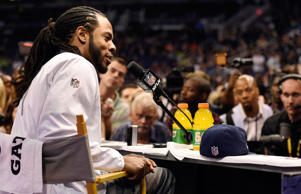 Jan 27, 2015; Phoenix, AZ, USA; Seattle Seahawks cornerback Richard Sherman is interviewed during media day for Super Bowl XLIX at US Airways Center.