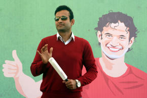 Indian cricketer Irfan Pathan addressing students during celebration of sports carnival at Asnani School on December 21, 2014 in Bhopal, India.