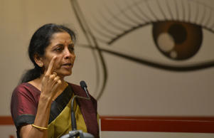 File: Minister of State for Commerce' Industry, Nirmala Sitharaman addressing the World Hindu Congress 2014 in New Delhi.