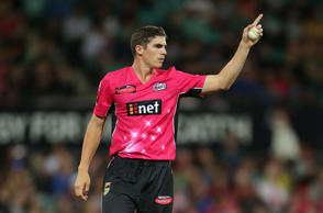 Sean Abbott of the Sixers points during the Big Bash League match between the Sydney Sixers and Melbourne Renegades at Sydney Cricket Ground on December 19, 2014 in Sydney, Australia.