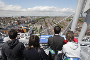 A general view of tourists on the Etihad Skyline viewing platform at Croke Park Stadium, Dublin.