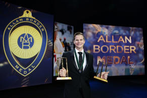 Steve Smith of Australia poses after winning the Allan Border Medal and the Test and One Day International player of the year awards during the 2015 Allan Border Medal at Carriageworks on January 27, 2015 in Sydney, Australia.