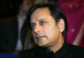 "File: Indian author and Under-Secretary-General for the United Nations Shashi Tharoor pauses before the opening of the Frankfurt book fair, October 3, 2006. The world's largest book fair, the ""Frankfurter Buchmesse"", with its main theme on Indian literature will be open to public from October 3 to 8."
