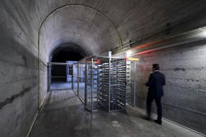 Deltalis' Andy Reinhardt enters the Deltalis Swiss Mountain Data Center, a former Swiss Army bunker built in the Alps during the Cold War, on November 18, 2013 near Attinghausen, Central Switzerland.