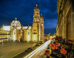 Mexico, Zacatecas, Plaza Armas at night