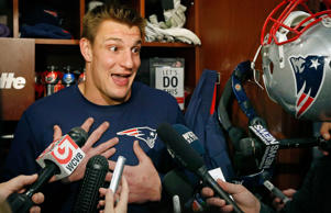 New England Patriots football tight end Rob Gronkowski speaks to media at his locker in Foxborough, Mass., Friday, Jan. 23, 2015. The Patriots face the Seattle Seahawks in NFL football's Super Bowl XLIX on Sunday, Feb. 1, 2015, in Glendale, Ariz.