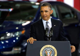 President Barack Obama speaks about clean energy technologies for automobiles at Argonne National Laboratory in Argonne, Ill., in 2013.