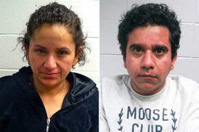 Maria Rosaline Malagon-Castillo, 40, left, and Victor Manuel Ruiz-Garcia, 39, were arrested at a truck stop in Russell, Illinois, near the Wisconsin border, on Tuesday night, according to the Lake County Sheriff's Department.