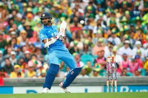Shikhar Dhawan of India avoids a wide ball during the One Day International match between Australia and India at Sydney Cricket Ground on January 26, 2015 in Sydney, Australia.