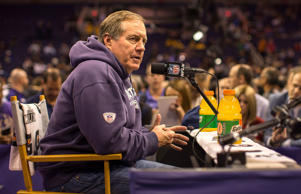 New England Patriots head coach Bill Belichick speaks to the media at Super Bowl XLIX Media Day at US Airways Center, Tuesday, Jan. 27, 2015 in Phoenix.