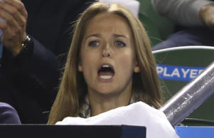 Fiancee of Andy Murray, Kim Sears celebrates as Andy Murray of Great Britain wins his semifinal match against Tomas Berdych of the Czech Republic during day 11 of the 2015 Australian Open at Melbourne Park.