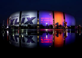 The Super Bowl XLIX is displayed on the University of Phoenix Stadium Thursday, Jan. 29, 2015, in Glendale, Ariz.