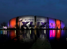 Super Bowl XLIX is displayed on the University of Phoenix Stadium Thursday, Jan. 29, 2015, in Glendale, Ariz.
