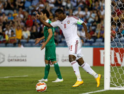 UAE striker Ahmed Khalil scored goals in either side of halftime.