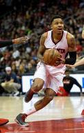 Atlanta Hawks guard Kent Bazemore (24) scores against Portland Trail Blazers in the first half of an NBA basketball game Friday, Jan. 30, 2015, in Atlanta.
