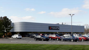 In this Oct. 22, 2014 file photo, the Takata building, an automotive parts supplier in Auburn Hills, Mich. is seen on Wednesday, Oct. 22, 2014. The company is the North American subsidiary of the Japanese based Takata Corporation, which supplies seat belts and airbags for the automotive industry.