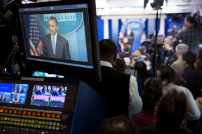 President Barack Obama holds a press conference in the James S. Brady Press Briefing Room of the White House.