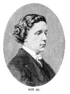 Vintage engraving of Lewis Carroll (Charles Lutwidge Dodgson) the author of Alice in Wonderland, Age 49