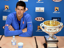 Novak Djokovic during a press conference after his Australian Open win.