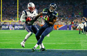 Chris Matthews #13 of the Seattle Seahawks scores an 11 yard touchdown late in the second quarter against  Logan Ryan #26 of the New England Patriots during Super Bowl XLIX at University of Phoenix Stadium on Feb. 1, 2015 in Glendale, Arizona.
